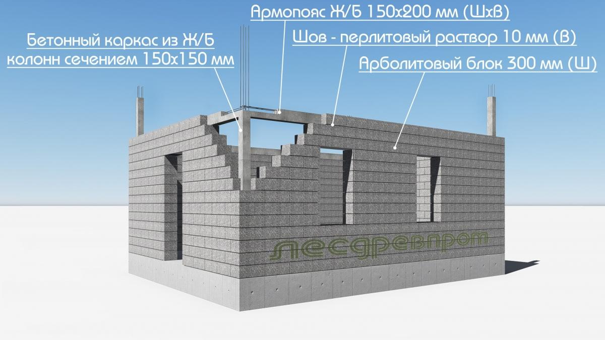 Дом из арболита с бетонным каркасом