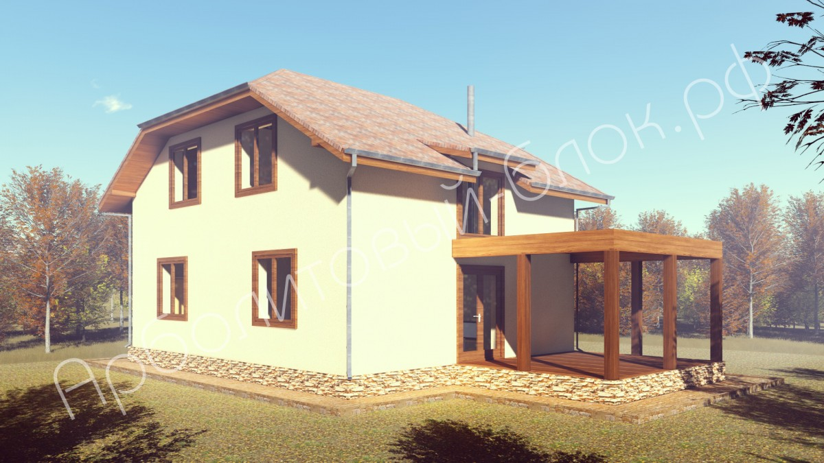Проект дома из арболита К-152 Орленок
