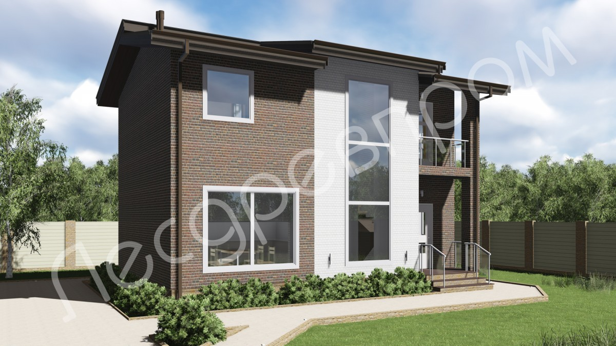 Дом из арболитовых блоков К-108, Проект Гудено